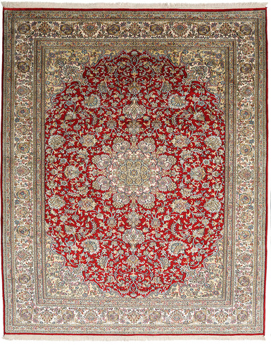 Kashmir Pure Silk Red & Blue Carpet 5 x 8 ft hand knotted