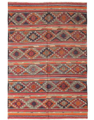 Kilim Semi Antique Turkish 6 x 9 ft unique woven by hand