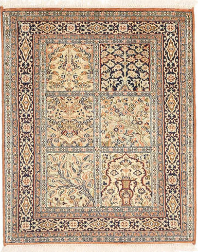 Kashmir pure silk 2 x 3 ft Hand knotted