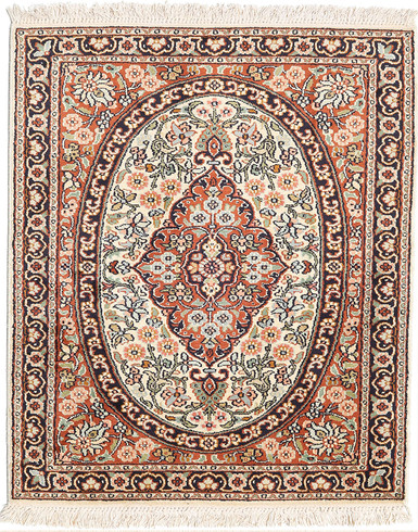 Kashmir pure silk (Red & Grey Carpet) 2 x 3 ft Hand knotted