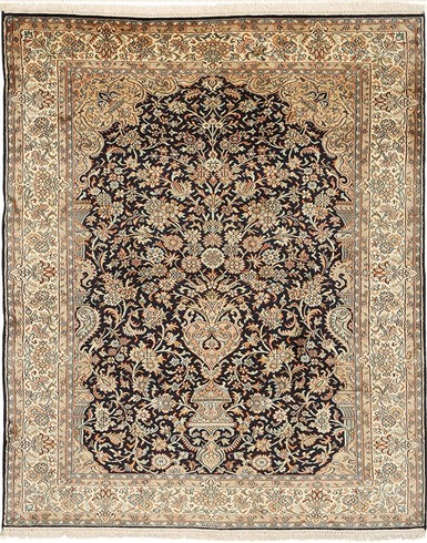 Kashmir pure silk (Yellow & Navy Blue Carpet) 4 x 6 ft hand knotted