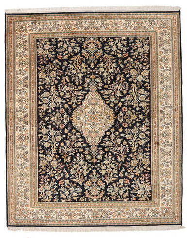 Kashmir pure silk (Yellow & Blue Carpet) 3 x 5 FT Hand knotted