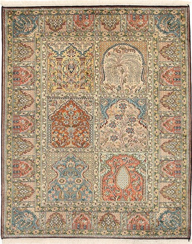 Kashmir pure silk (Red, Blue & Yellow Carpets) 2.5 X 4 FT Hand knotted