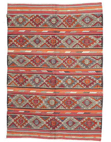 Kilim semi antique Turkish 6x9 ft unique woven by hand