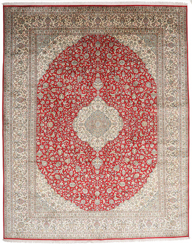 Kashmir pure silk (Red & Grey Carpet) 7 X 10 FT Hand knotted
