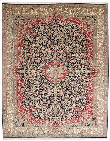 Kashmir pure silk (Red & Navy Blue Carpet) 6 X 9 FT Hand knotted